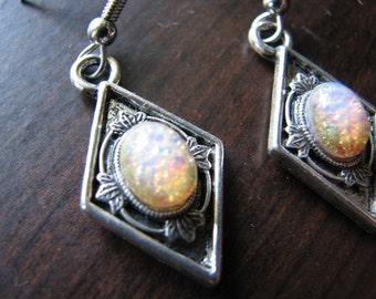 Fire opal earrings | dragons breath | diamond shape | dangle silver