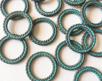 29mm Verdigris Copper Braided Wreath Ring Set of 2