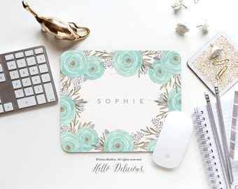 Mouse Pad Mouse Pad Mousepad Ranunculus Watercolor Mouse Mat Wreath Mouse Pad Office Mousemat Rectangular Personalized Mousepad Round 42.