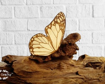 Monarch Butterfly hair clips Bridesmaid Best friend Valentine Wedding gift Rustic wedding Laser Wood feather
