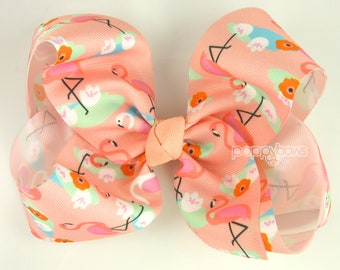 "Flamingo Hair Bow, Extra Large Hair Bow, Girls Hairbows 6"" Hair Bow, 6 inch hair bows, big bow, giant bow, cute bows, peach coral Summer xl"