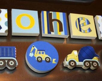 Construction Trucks Boys Name Magnets Fridge Bedroom Magnets NM0003