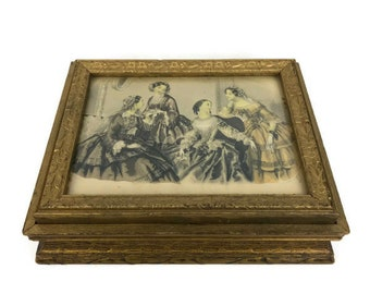Gilded Wood Dresser Box - Godey Lady's Picture Frame Dresser Box -  Vanity Dresser Box - Dresser Jewelry Box
