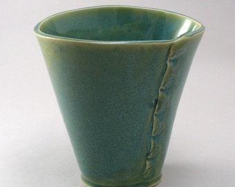 Ceramic Oval Flower Vase-Teal-Pottery Vase-Stoneware-Green-Hand Built-Textured Seam-Pearl Green Glaze-Ready to Ship