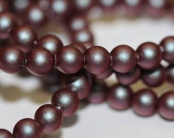 50 Iridescent Red 4mm Swarovski Crystal Pearls