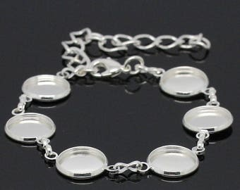 BRACELET to be personalized with 6 cabochons 12mm silver plated 18cm long