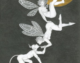 """Original drawing, fairies and a devil under the moon, in pencil and gold leaf - """"Three's a Crowd"""" - art by Nancy Farmer (unframed)"""