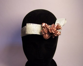 HEADPIECE hand made with copper-colored flowers