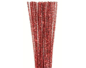 """35, 3mm, Red Tinsel Stems, Pipe Cleaners, 12"""" Long"""