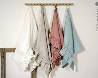 Natural linen towel with ruffles- tea towel-gift set-Linen taupe large small towel- Softened linen travel towel
