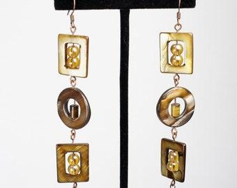 Earthtone Shell Earrings, Gold Earrings, Cats eye