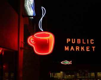Seattle Pike Place Market photo, Seattle canvas, Seattle print, Seattle art, Pike Place Market canvas, Seattle coffee cup photo, Post Alley