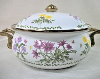 Vintage Lincoware Pot with Lid, Casserole Pot, Enamel Pot, Enamel Bowl, Vintage Cookware, Floral Pot, Metal Cookware