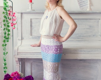 Summer long skirt crochet  PATTERN, motifs skirt tutorial, cotton skirt PDF pattern, women crochet skirt, crochet pattern American terms