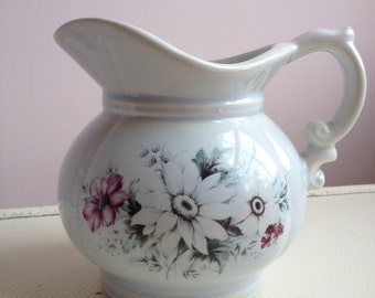 McCoy Floral White and Blue Pitcher, McCoy Farmhouse White and Blue Pitcher, McCoy Shabby Chic White and Blue Pitcher