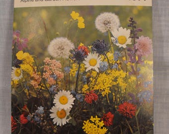 Vintage 1971 Swiss  Alpine and Garden Flowers Spiral Bound Post Card Style Calendar Suitable for Desk or Hanging 12 Florals for each Month