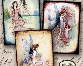 Victorian Fairies and Water Nymphs Mermaids Digital Collage Sheet in ATC ACEO size 2.5 x 3.5 Inch Rectangles Vintage Wings piddix 890