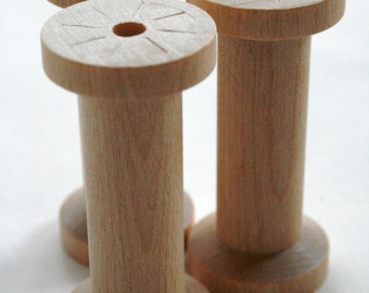 Large Wooden Spools - set of 2 - Natural Wood Thread Spools