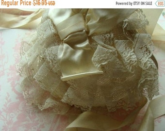 ONSALE Sweet Antique Lace Bonnet with Silk Ribbons