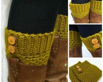Crochet Boot Cuff Pattern - Button Up Boot Cuffs Crochet Pattern No.911 Digital Download PDF English