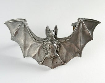 1970's SANDY VAL Flying Fox Gothic Pewter Belt Buckle Awesome Vintage Seventies 70's Winged Bat Belt Buckle