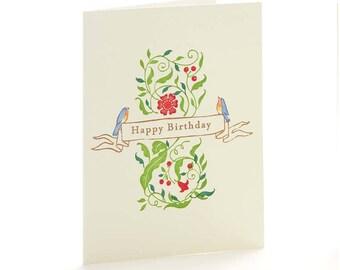 "A2-16 - Robins ""Happy Birthday""-  Note Card"