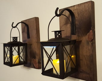 Wall Lantern Pair with wrought iron hooks, rustic wood boards, rustic home decor, wall decor, bedroom decor, sconces