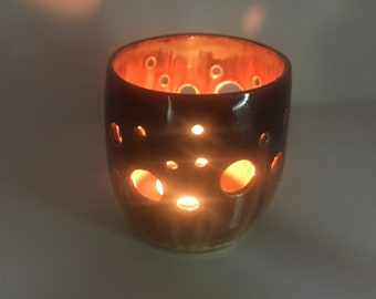 Clay lantern, ceramic candle holder, pottery candle holder, tealight candle holder, ceramic votive, pierced pottery, candle lantern, DL18229