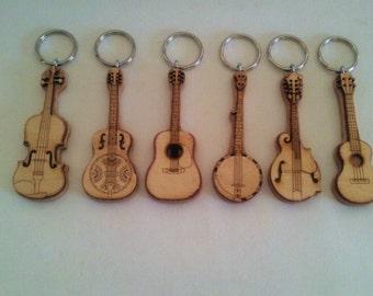 Bluegrass Instrument Key Rings: Guitar, Banjo Mandolin, Dobro, Ukulele and Fiddle
