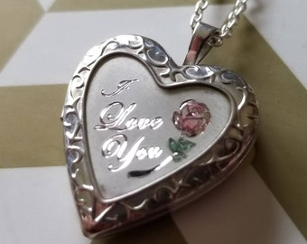 """Sterling Silver Heart Locket with Pink and Green Flower and """"I Love You"""" Design (st - 2202)"""