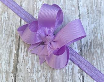 Lavender Headband Purple Baby Headband Double Layered Infant Toddler Bowband Lavender Headband Baby Headband Purple Headband Bow