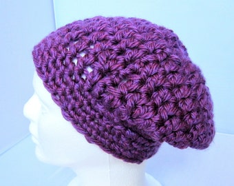 Crocheted Slouch Hat, Purple Baggy Beret