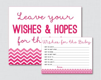 Wishes for Baby Chevron Baby Shower Activity in Hot Pink - Printable Pink Well Wishes for Baby Cards and Sign - Instant Download - 0017-HP