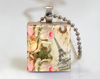 Paris Jewelry. Scrabble Tile Pendant Necklace. Resin Jewelry. Paris Eiffel Tower. Altered Art Pendant. Ball Chain Necklace or Key Ring