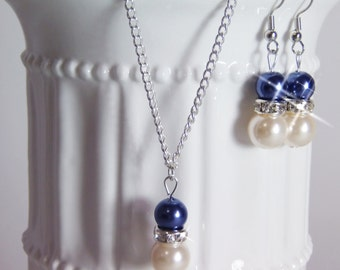 Bridesmaid Pearl Ivory and Navy Blue Jewelry Set Pearl Necklace, Pearl Earrings, Bridesmaid Jewelry, Bridesmaid Gift, Pick Your Own Color