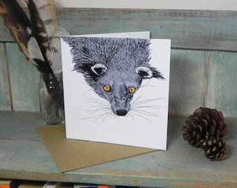 Binturong Illustration Square Greeting Card - 280gsm White Card 150 x 150mm Blank Inside with Brown Recycled Envelope