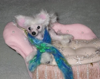 Felted  Miniature Sculpture of your pet / Cute/ poseable by Fiber Artist GERRY / example Chinese Crested small size