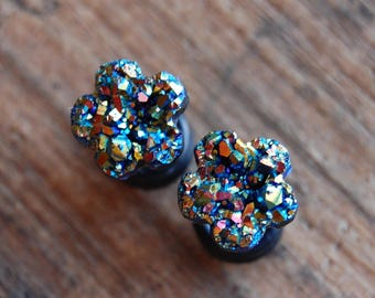 Choose Color and Size  6g (4mm), 2g (6mm)4g (5mm) 0g (8mm)   Faux Druzy Rough Flower Floral Crystal Plugs Gauges for stretched lobes