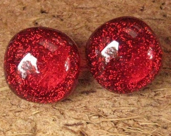 Tiny Red Dichroic Fused Glass Button Earrings, Fused Glass Post Earrings, Red Hot Button Earrings, Glass Studs