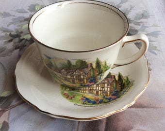 Royal Winton Tea cup & Saucer, Shakespeare's Birthplace. Stratford Upon Avon. Cottage, Farmhouse, Vintage
