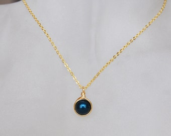 Light Navy Blue Necklace , Bridesmaid Necklace , Navy Pearl Necklace , Swarovski Pearl Necklace