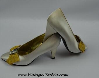 1980s Vintage Yves Saint Laurent Shoes, YSL Shoes, Pumps, Satin Shoes, Vintage Shoes, 1980s Shoes, Shoes, Vintage YSL Pumps, Vintage Pumps