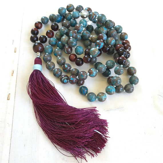 BALANCE YOUR EMOTIONS - Mala Beads - Blue Sky Jasper Mala Necklace - Red Tiger Eye And Clear Quartz - 108 Mala Beads Hand Knotted