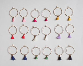 Laurel in Gold -earrings (small halo hoop earrings with tassel minimal every day 16K gold plated)