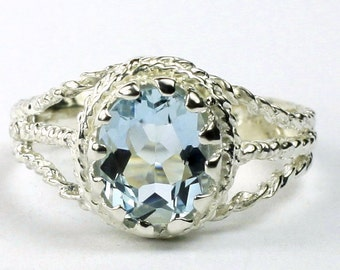 Aquamarine, 925 Sterling Silver Ring, SR070