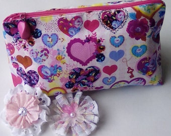 Beautiful heart design makeup bag, cosmetics case