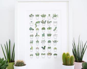 Plant Print - Botanical Plants Print - Cactus Print - Succulent Print - Crazy Plant Lady - Gift for Planter Lover - Indoor Plants