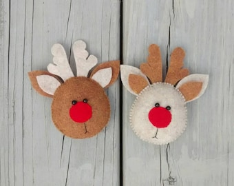 Felt Rudolph the Red Nosed Reindeer/ Christmas Reindeer Ornament/ Felt Christmas Ornament/ Handmade