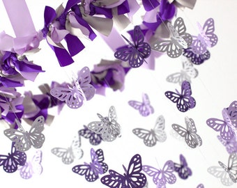 Lavender, Gray & Purple Butterfly Mobile, Baby Shower Gift, Nursery Decor