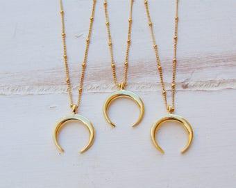 Crescent Moon Necklace,Half Moon Necklace,Moon necklace,Gold Moon Necklace,Boho Necklace,Layering Necklace,Half Moon Charm Necklace